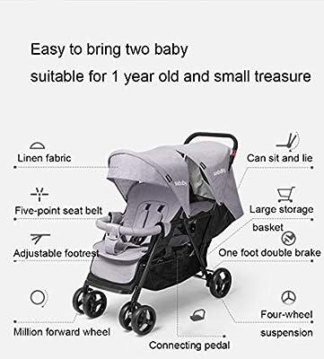 YVVY Carro Doble para bebé, Doble Carrito Delantero y Trasero, reclinable, Plegable, Ultraligero, Apto para niños de 1 año y pequeños Tesoros