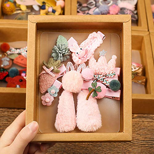 ZGY Neue Baby Haarschmuck, Prinzessin Tiara Mädchen Haarspangen 10 Sätze Kinder Haarspange Geschenkbox Set,A - Baby Grauer Elefant Dekorationen