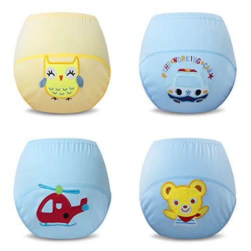 Ateid 4 Pack Baby Boy Cotton Potty Training Pants 0-3 Years