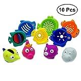 TOYMYTOY Badespielzeug Stapelbecher mit Meerestiere Form Schwimmende Wasserspritzte Spielzeug für Wasserspiel Badespaßzeit Strandspielzeug 10 Stück