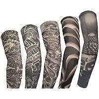 Kehuashina 5 Piezas de Alta Calidad Falsas Mangas del Tatuaje Temporal para Mujeres Hombres Deporte al Aire Libre Ciclismo Equitación de Pesca Correr Corriendo Escalada