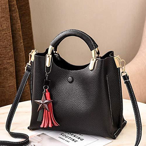 Fyyzg europäischen und amerikanischen Mode Handtaschen Killer lässig Wilde Schulter geschleudert - Pure Black