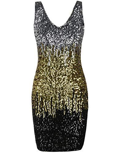 izvoller tiefer V-Ausschnitt Pailletten Glitzer Bodycon Stretchy Minipartei-Kleid XLSilber/Gold/Schwarz ()