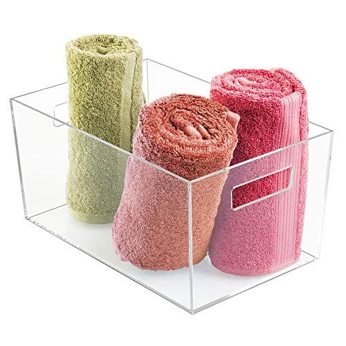 Idesign clarity portaoggetti bagno, grande organizer trucchi in plastica con manici per organizzare i cosmetici ai bordi del lavandino, trasparente