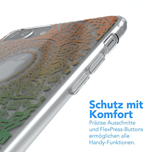 "iPhone 8+ Hülle / iPhone 7+ Hülle - EAZY CASE Slimcover ""Henna"" Handyhülle für Apple iPhone 7 Plus & iPhone 8 Plus - Flexible Schutzhülle mit Indian Sun Design in Weiß / Rosa Transparent Gold / Grün"