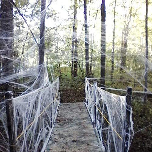 lten 1 kostenlose Halloween Strechable Spinnennetz 40g mit Spinnen Weiß Gurtband für Halloween Dekorationen ()