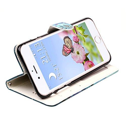 iPhone 6 Plus Hülle, iPhone 6S Plus Case, Rosa Schleife iPhone Handyhülle PU Ledertasche Etui Flip Wallet Cover Schutzhülle Premium TPU Silikon Bumper Bookstyle Magnetverschluss mit Glitzer Bling Schö A - Rosa und Blau