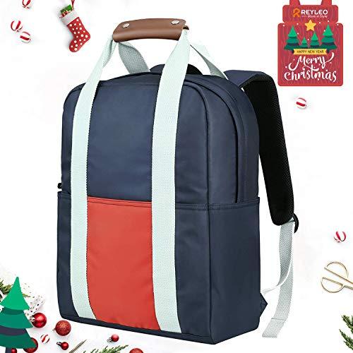 REYLEO Rucksack Reisegepäck Handgepäck für Laptop 14.1 Zoll für Reise und Alltag Unisex Wasserdicht Blau und Orange-19 Liter