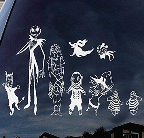 CELYCASY Nightmare Before Christmas Jack Skellington and Sally Family Halloween Viynledecal Aufkleber für Macbooklaptop Autofenster Wand 27,9 cm (Nightmare Before Outdoor-halloween-dekoration Christmas)