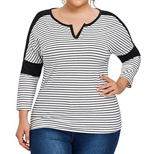Overdose Women Plus Size Top Striped Long Sleeve Shirt Blouse