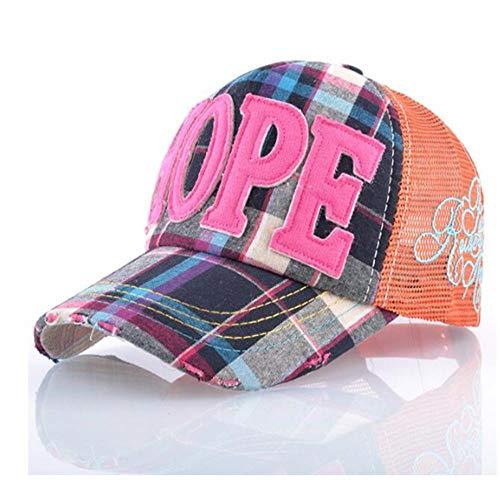 JRDL Hysteresensonnenhüte Für Mädchen Hoffnung Applique Stickerei Atmungsaktives Mesh Sommerkappen 5 Panel Hip Hop Baseball Cap Unisex Geeignet Für 56-59 cm (Zeitgenössische Hip Hop Kostüm)