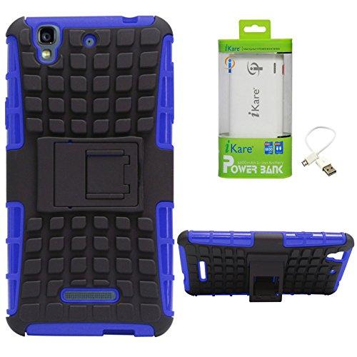 DMG Dual Hybrid Hard Grip Rugged Kickstand Armor Case for YU Yureka Plus (Blue) + 6600 mAh Power Bank