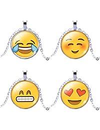 Jiayiqi Populaire Emoji Verre Cabochon Collier Humeur Expression Collier Pour Femmes Filles Dame