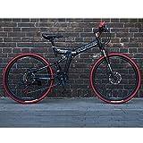21 velocità Unisex Mountain Bike a Doppia Sospensione 24 Pollici 26 Pollici Acciaio al Carbonio Freno a Doppio Disco Alunno Bambino Commuter City Bicicletta Pieghevole,Black,26Inch