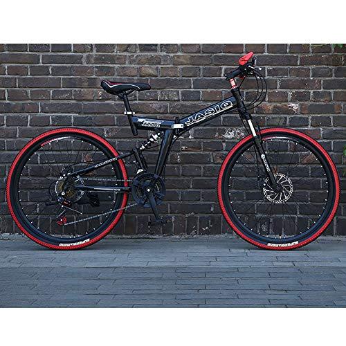 21 Velocidad Unisexo Bicicleta de montaña de Doble suspensión 24 Pulgadas 26 Pulgadas Acero de Alto Carbono Freno de Disco Doble Estudiante Niño Ciudad del Viajero Bicicleta Plegable,Black,26Inch