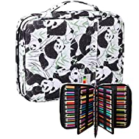 BOMKEE Drawing Pencil Case 220 Slots Colored Pen Organizer Bag Portable Handy Painting Storage Stationery Pouch Waterproof Multilayer Gel Pens Watercolor Pencils Holder for Kids Adults(White Panda)