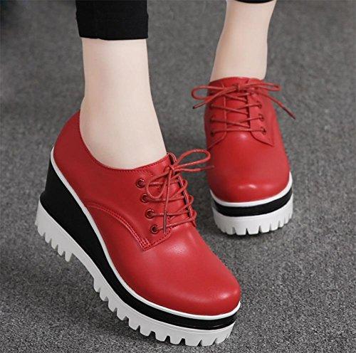 Mme Spring pente accrue avec des chaussures à fond épais femmes chaussures chaussures de sport chaussures blanches à l'intérieur Red