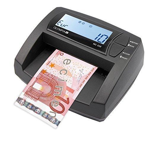 OLYMPIA NC 335 Automatisches Geldscheinprüfgerät – Updatebar – LCD-Display – Geldzähler integriert | Mobiler Geldscheinprüfer, Banknotenprüfer für Euro-Noten (Falschgeld-scanner)