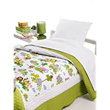 Colcha bouti infantil microfibra estampada modelo Safari - cama 90 - medida 180x270 - con funda de almohada incluida
