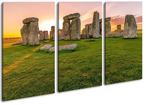 deyoli Steines des Stonehenge bei Sonnenaufgang im Format: 3-teilig 120x80 als Leinwand, Motiv fertig gerahmt auf Echtholzrahmen, Hochwertiger Digitaldruck mit Rahmen, Kein Poster oder Plakat
