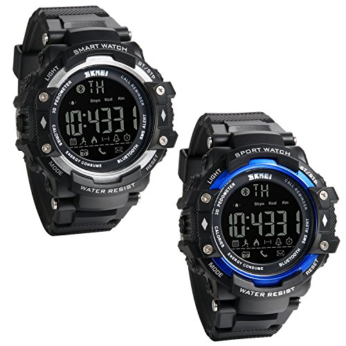 JewelryWe 2 PCS Reloj Deportivo Inteligente Smart Watch Bluetooth Recordatorio de Llamadas,...