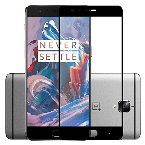 Dashmesh Shopping Tempered Glass Screen Protector Full Cover Edge-to-Edge (Black) for One plus 3 OnePlus 3T 1+3