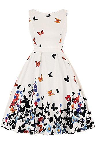 Babyonlinedress® Damen Elegant Vintage Kleider Ohne Arm Weiß mit Schmetterling-Druck XL