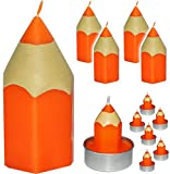 alles-meine.de GmbH 11 TLG. Set _ Kerzen -  bunter Stift - ORANGE  - große Kerze + Teelichter - Tischkerze - Tischdeko / Schuleinführung / Geburtstagskerzen - Stifte - Schulanf..