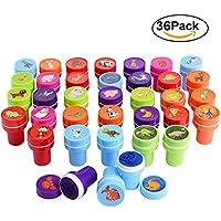 Gudotra 36pcs Sellos de Entintado Multicolor para Niños Favor de Fiesta Infantil Regalo de Cumpleaños (Animale)