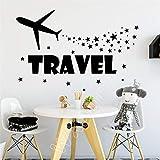 Moderne Wandaufkleber Reise Wandtattoo Flugzeug Stern Aufkleber Kids Art Kinderzimmer Dekor Home Rot 58 x 94 cm
