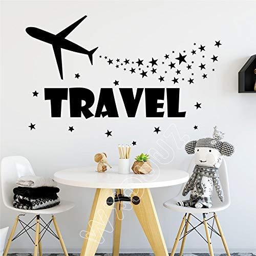Moderne Wandaufkleber Reise Wandtattoo Flugzeug Stern Aufkleber Kids Art Kinderzimmer Dekor Home Grau 58 x 94 cm