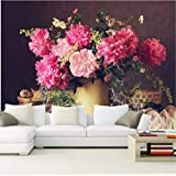 Zybnb Benutzerdefinierte 3D-Wandbilder, Noch Schöne Blumenstrauß-Vase, Hotel-Café-Shop-Wohnzimmer-Sofa-Tv-Wand-Schlafzimmer-Wandpapier