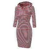 Heißer Verkaufs Frauen mit Kapuze Knie Längen langer Entwurfs Normallack Pullover Kleid Sweatshirts(M,rot Streifen)