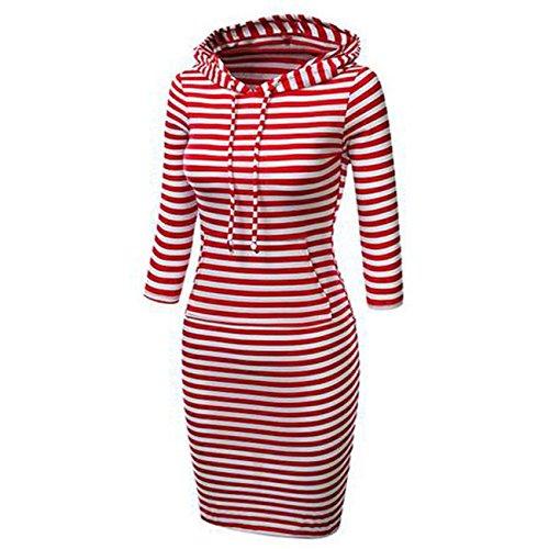 Heißer Verkaufs Frauen mit Kapuze Knie Längen langer Entwurfs Normallack Pullover Kleid Sweatshirts(XL,rot Streifen) Diamond-pullover Für Frauen