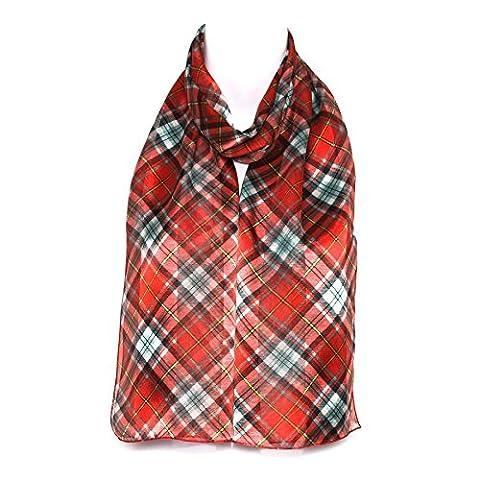 Ladies Women Girls Tartan/Check Scarve/Scarf/Shawl - (Red)