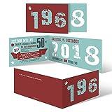 40 x Einladungskarten runder Geburtstag 50 Jahre Grad Geburtstagseinladungen - Retro Geburtsjahr