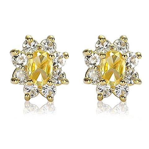 Rizilia Bijoux ovale Cut Jaune Citrine Couleur Gemstones Bien CZ 18K plaqu¡§? or jaune Pendre Boucles d'oreilles Simple ¡§?l¡§?gance moderne [Bijoux de poche
