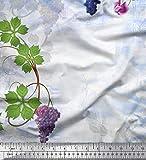 Soimoi Blau Seide Stoff Trauben & Blumen Blatter Stoff