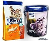 Happy Cat INDOOR Atlantik Lachs 2 x 10 kg = 20 kg + 1 x Futtertonne Happy Cat 20 Liter