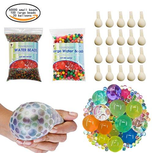 TOAOB 50000pcs Mini und 200pcs XXL Aqualinos Perlen Wasserperlen Gelperlen Wachsende Kristallboden mit 20pcs Wasserballons für Sensorische Spielzeug und als Deko für Blumenvase