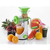 FlixShine Super Deluxe Manual Hand Fruit & Vegetable Juicer,Home Manual Juicer Fruit Squeezer, Manual Wheatgrass Juicer, Multifunctional 100% Healthy Natural Juice Maker, Strong Vacuum, Poly Carbonate Unbreakable Body (Multi-coloured)