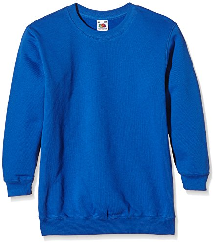Fruit of the Loom Jungen Regular Fit Sweatshirt SS027B, Blau - Blau (Königsblau), 7/8 Jahre (Herstellergröße: 116cm) (Gildan Sweatshirt Kinder)