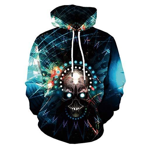 Xmiral Herren Pullover 3D Drucken Kapuzenpullover Halloween Thema Hoodie Sweatshirts Große Größe Unheimlich Gedruckte Langarm Tasche Kapuzenpulli(Blau 1,5XL)