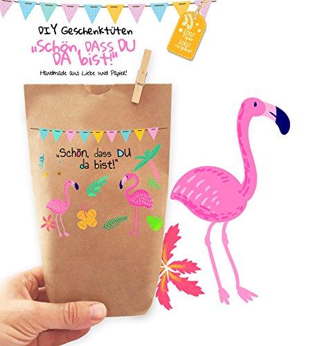6x wunderschöne FLAMINGO Geschenktüten – Tüten liebevoll bedruckt aus Kraftpapier, zum Verpacken von Geschenken Gastgeschenken Mitgebsel Giveaways Kindergeburtstag Hochzeit Party. 100% recyclebar!