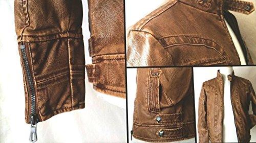 MatchLife Herren Lederjacke Zipper Bike Velvet Jacke Style4-Gelb