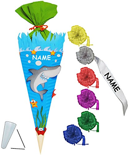 alles-meine.de GmbH BASTELSET Schultüte -  Hai Fisch & Unterwasser Welt  - 85 cm - incl. individueller Schleife + Name - mit / ohne Kunststoff Spitze - Zuckertüte - Set zum sel..