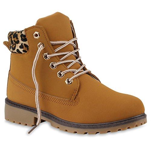 Stiefelparadies Damen Herren Unisex Warm Gefütterte Stiefeletten Outdoor Worker Boots Profilsohle Winterschuhe Camouflage Schuhe Übergrößen Flandell Hellbraun Muster