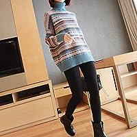 IJL suéter a Rayas de otoño e Invierno Femenino Salvaje Suelto Salvaje con una Capucha Cuello Grueso Camiseta levantada XL Azul
