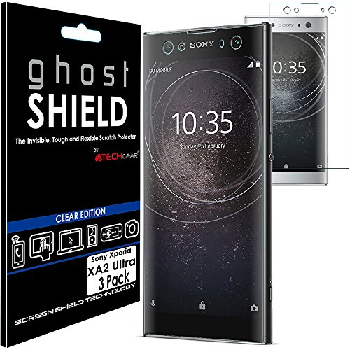 TECHGEAR [3 Stück Bildschirmschutz Kompatibel mit Sony Xperia XA2 Ultra - [ghostshield] Genuine verstärkte TPU Bildschirmschutzfolie Guard mit Gesamte Display Deckung inkl. Gebogener Bereich