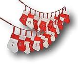 Adventskalender Advent Kalender aus Stoff kariert Girlande 24 Stiefel-Säckchen Stoff Weihnachtskalender